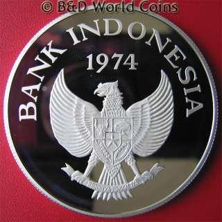 INDONESIA 1974 5000 RUPIAH 1oz SILVER ORANGUTAN MONKEY