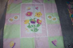 Baby Quilt pink green and yellow butterflies flowers