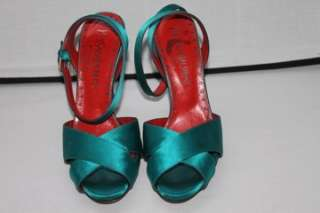 YVES SAINT LAURENT Green Satin Sandals Heels Shoes Size 37.5