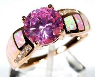 Gold Plated Sterling Silver Pink Fire Opal and Topaz Ring size 6,7,8,9