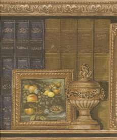 VICTORIAN BOOKS RED,BLUE on SHELF Wallpaper bordeR Wall