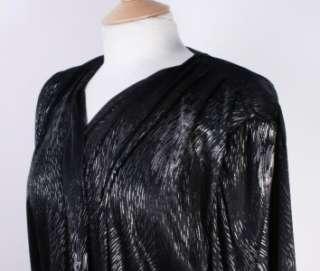 Vtg 80s Womens Black Wrap Around Tie Top Blouse Shirt Medium
