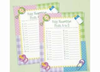 Lot 24 BABY SHOWER PARTY GAME B/bib C/crib D/diaper ETC