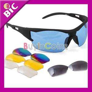 Bicycle Bike Sport Cycling Safety Glasses Goggle 5 Lens