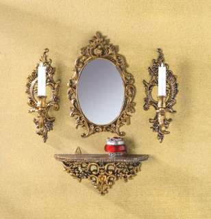 ORNATE GOLD TONE BAROQUE WALL MIRROR, SHELF, AND SCONCES ENSEMBLE