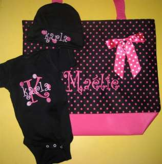 Personalized Diaper Tote Bag Baby Onesie Hat Gift Set