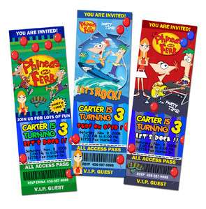 PHINEAS AND FERB & BIRTHDAY PARTY INVITATION TICKET 1ST  c1 photo