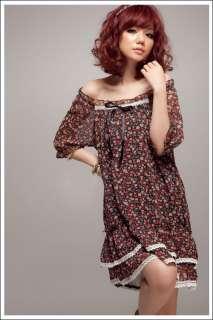 New Off Shoulder Floral Lace Trim Chiffon Dress Hot