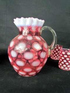 Cranberry Coin Dot Opalescent Art Glass Lemonade Pitcher 6 Tumblers
