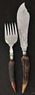 Victorian English SP Lee & Wigfull Antler Fish Set