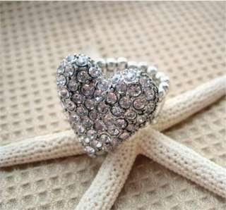New Luxury Silver Full Rhinestone Heart Shape Adjustable Ring Elastic