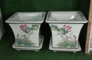 Famille Rose Flower Pot Vase   pair, Ca. 18th century
