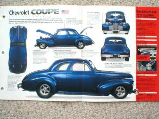 1940 CHEVROLET chevy HOT ROD COUPE SPEC SHEET/Brochure |