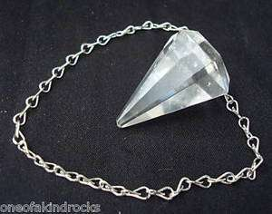 Quartz Crystal Pendulum Healing Stone Rock Faceted
