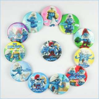 24PCS Smurf Smurfette Boys Girls Kids Buttons Pins Birthday Party