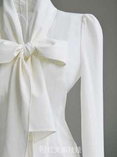 NEW Noble Luxury Victorian Women Slim Cocktail Shirt Bow Blouse S/M/L