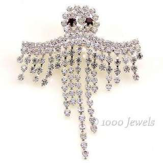 Dangling Crystal Rhinestone Ghost Halloween Brooch Pin