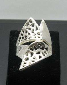 STYLISH LONG STERLING SILVER RING SOLID 925 SIZE 4   10
