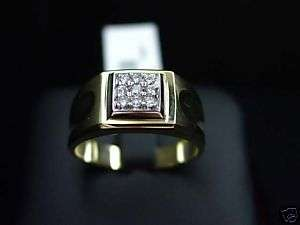 MENS DIAMOND RING ROUND CUT PAVE 14K YELLOW GOLD