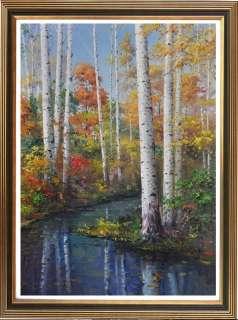 Original Oil painting landscape art Birch on canvas 24x36