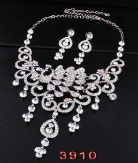 showgirl diva pageant queen prom party jewelry set white gold plating