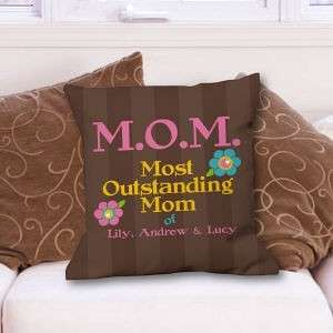 Personalized Mothers Day Throw Pillow Outstanding Mom