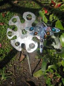 FLOWER & DRAGONFLY METAL YARD ART WITH EMBEDDED COLORED STONES