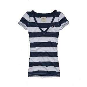 Hollister by Abercrombie Damen T Shirt V Neck   blau/weiss   gestreift