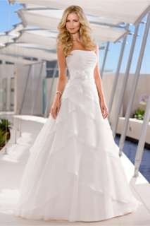 2012 Beautiful A line strapless Beach Wedding Dress Bridal Gown All