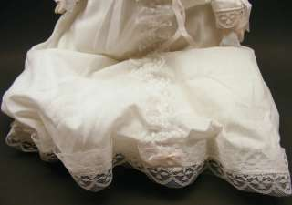 Vintage Porcelain Baby Doll Baptism Lace Dress Gown Collectible Doll