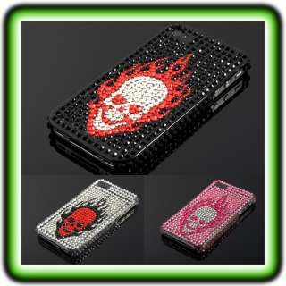 APPLE IPHONE 4 / 4S SKULL STRASS CASE Cover Bumper Hülle Glitzer