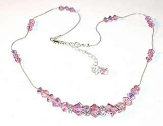 SWAROVSKI CRYSTAL ELEMENTS Sterling Silver Necklace LIGHT AMETHYST