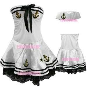 Lovely Costume Black White Lace Tube Fancy Sailor + Hat