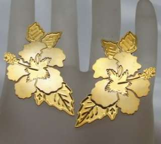 Lam Earrings Hawaiian Hibiscus Flower Clip on 24kt Goldplate