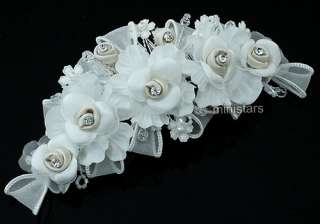 Bridal Ivory Fabric Flower Crystal Handmade Hair Comb T1442