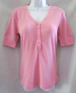MILLER New Pink Short Sleeve Thermal Waffle Shirt Top Womens S