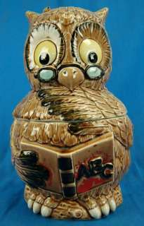Vintage Ceramic Cookie Jar Teacher Wise Owl Bird MIJ