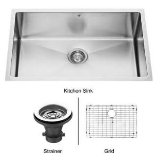 Single Bowl Undermount Stainless Steel Kitchen Sink, Grid and Strainer