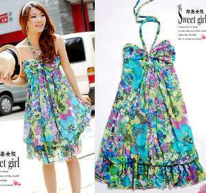 Green Women Sexy Halter Floral Chiffon Plus Dress 16 XL