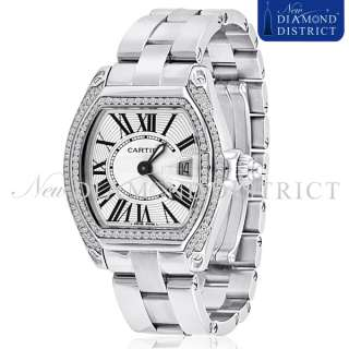 LADIES 1.50CT TOTAL PAVE SET DIAMOND CARTIER ROADSTER STAINLESS STEEL