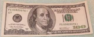 2003 A US ONE HUNDRED DOLLAR $100BILL * STAR NOTE CURRENCY FEDERAL