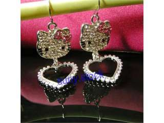 quality NEW cute Crystal PINK hello kitty earrings Gift A60