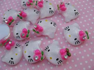 20 Resin Hello Kitty w/Hot Pink Cherry/Rhinestone K026