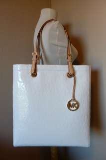 Michael Kors MK White Mirror Metallic NS Items Tote Bag $198