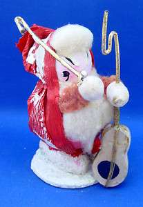 Paper Mache Christmas Ornament Bass Player Woolworth Sticker