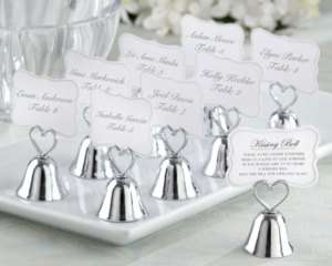 24 Kissing Bells Heart Wedding Placecard Holders Favors