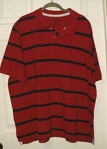 New Mens Faded Glory Red Blue Stripe Polo Shirt 100% Cottton 2XL 50 52