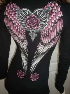 Scrolls Angel Wings Heart Roses Tattoo Black Pink Tee T Shirt