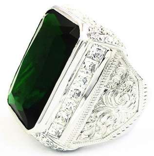 HUGE GREEN EMERALD DIAMOND MENS RING Sz 8 RHODIUM STERLING 925 SILVER