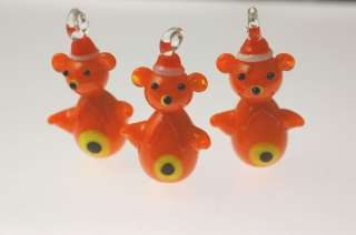10 Christmas Lampwork Glass Pendants Teddy Bears